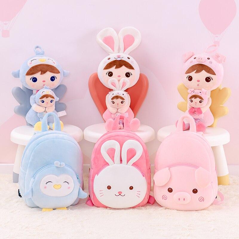 Metoo x Gloveleya Plush toys keppel dolls soft kids backpacks Keppel pink rabbit backpack cartoon bags for kids  3 piece set